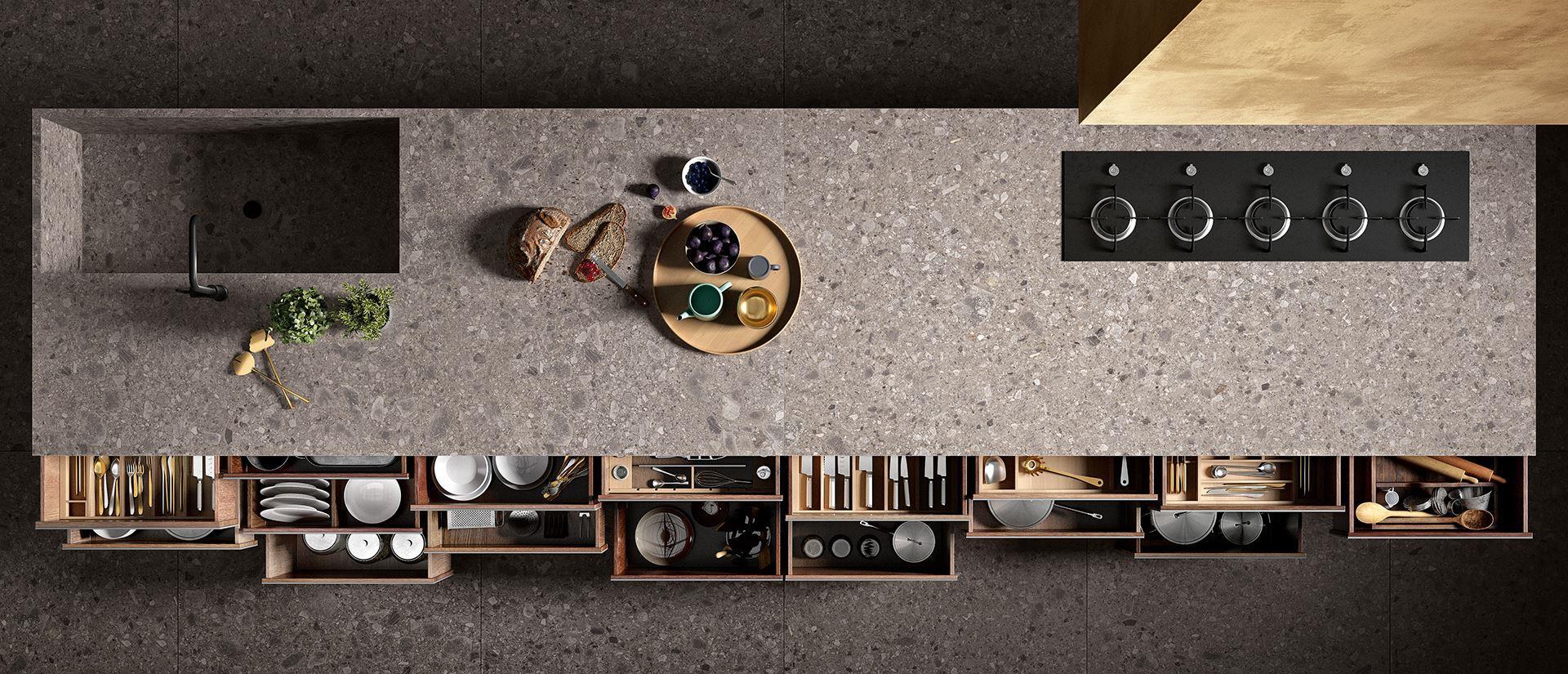 k chenarbeitsplatte fliesen und b den aus feinsteinzeug und kerlite. Black Bedroom Furniture Sets. Home Design Ideas